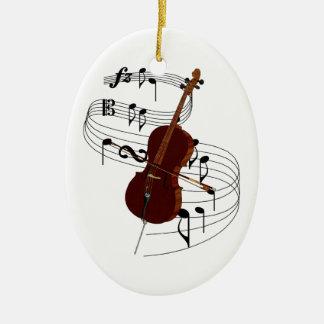 Ornamento del violoncelo adorno navideño ovalado de cerámica