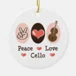 Ornamento del violoncelo del amor de la paz adornos de navidad