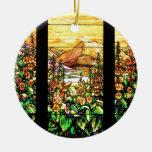 Ornamento del vitral de Nouveau del arte de Adorno Navideño Redondo De Cerámica