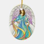 Ornamento del vitral del ángel ornamentos para reyes magos