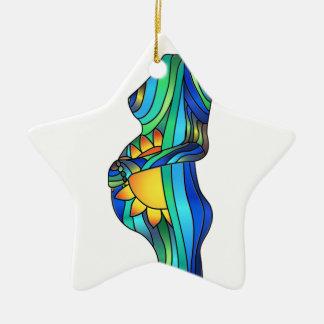 Ornamento del vitral del embarazo adorno navideño de cerámica en forma de estrella