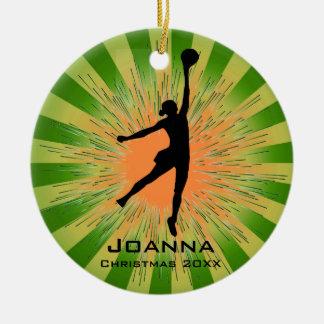 Ornamento del voleibol de las mujeres adorno navideño redondo de cerámica
