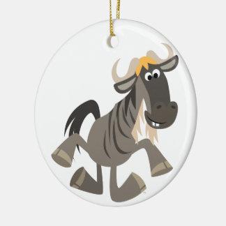 Ornamento del Wildebeest del baile de golpecito Adorno Navideño Redondo De Cerámica