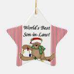 Ornamento del yerno del mundo del oso de peluche e ornamento de navidad