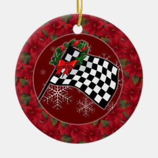 Ornamento - día de fiesta que compite con la adorno navideño redondo de cerámica