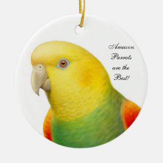 Ornamento dirigido amarillo doble del loro del adorno navideño redondo de cerámica
