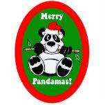 Ornamento divertido de la panda del navidad esculturas fotograficas