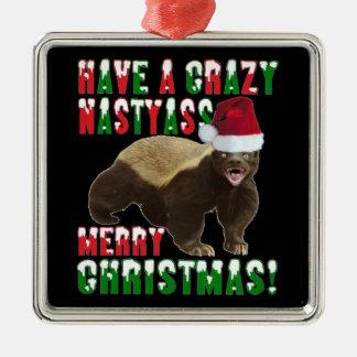 Ornamento divertido de las Felices Navidad del Adorno Navideño Cuadrado De Metal