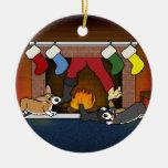 Ornamento divertido de los Corgis de la chimenea d Ornamento De Reyes Magos