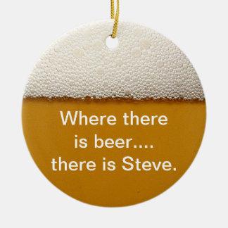 Ornamento divertido del alcohol adorno navideño redondo de cerámica