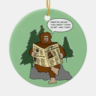 Ornamento divertido del árbol de navidad del adorno navideño redondo de cerámica