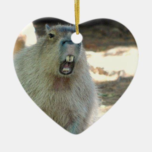 Ornamento divertido del Capybara Adorno De Cerámica En Forma De Corazón