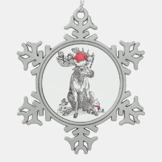 Ornamento divertido del copo de nieve del navidad adorno de peltre en forma de copo de nieve