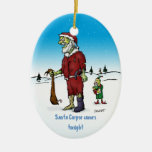 Ornamento divertido del día de fiesta del zombi adorno navideño ovalado de cerámica