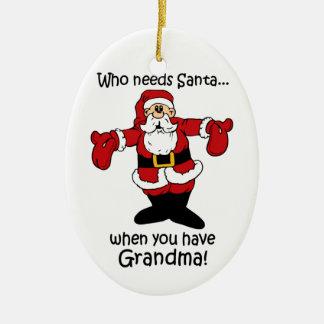 Ornamento divertido del navidad adorno navideño ovalado de cerámica