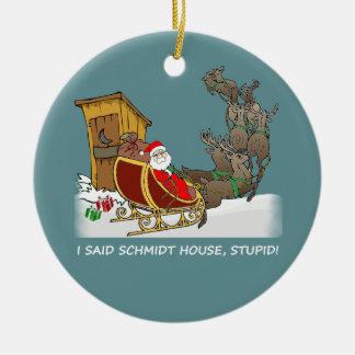 Ornamento divertido del navidad de la casa de adorno navideño redondo de cerámica