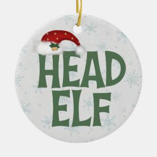 Ornamento divertido del navidad del duende adorno navideño redondo de cerámica