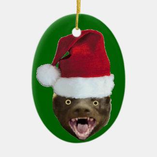Ornamento divertido del navidad del gorra de Santa Adorno Navideño Ovalado De Cerámica