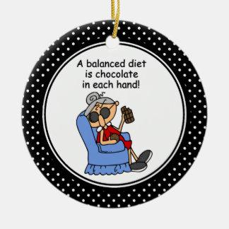 Ornamento divertido del navidad del humor de la adorno navideño redondo de cerámica