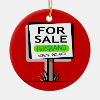 Ornamento divertido del navidad del marido adorno navideño redondo de cerámica