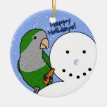 Ornamento divertido del Parakeet del Quaker del mu Adornos De Navidad