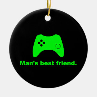 Ornamento divertido del videojugador del mejor adorno redondo de cerámica