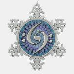 Ornamento doble de plata del copo de nieve del adorno de peltre en forma de copo de nieve