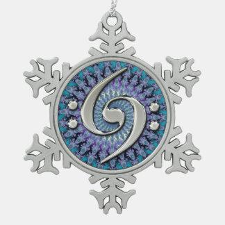 Ornamento doble de plata del copo de nieve del fra adorno