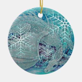 Ornamento - dragón del invierno del día de fiesta adorno navideño redondo de cerámica