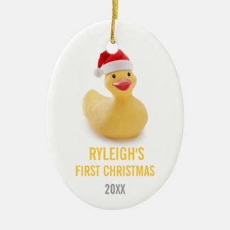 Ornamento Ducky del navidad de Santa Babys primer Adorno Ovalado De Cerámica