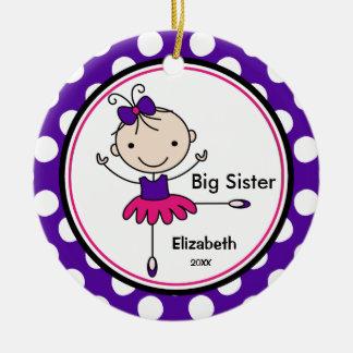 Ornamento dulce del navidad de la hermana grande adorno navideño redondo de cerámica