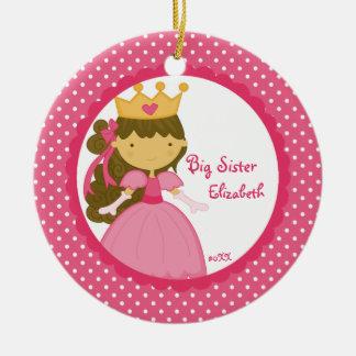 Ornamento dulce del navidad de la princesa hermana adorno redondo de cerámica