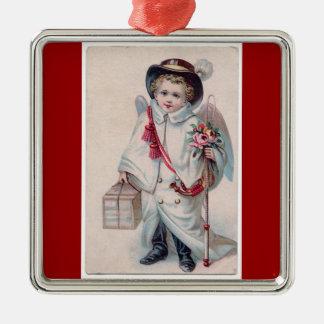 Ornamento dulce del navidad del muchacho del ángel adorno cuadrado plateado
