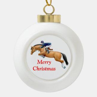 Ornamento ecuestre del navidad del caballo del adorno de cerámica en forma de bola
