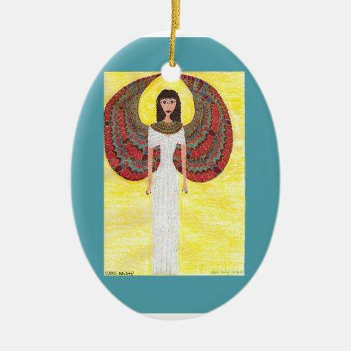 Ornamento egipcio antiguo del ángel - óvalo de adorno navideño ovalado de cerámica