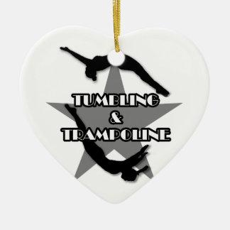 Ornamento el caer y del trampolín adorno navideño de cerámica en forma de corazón