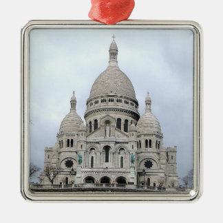 Ornamento elegante con Sacre Coeur de París Adorno Navideño Cuadrado De Metal