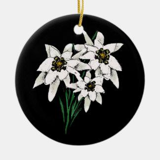 Ornamento elegante de Edelweiss Adorno Redondo De Cerámica