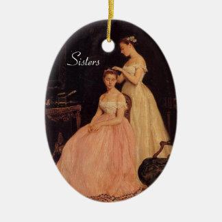 Ornamento elegante de las hermanas del vintage adorno navideño ovalado de cerámica