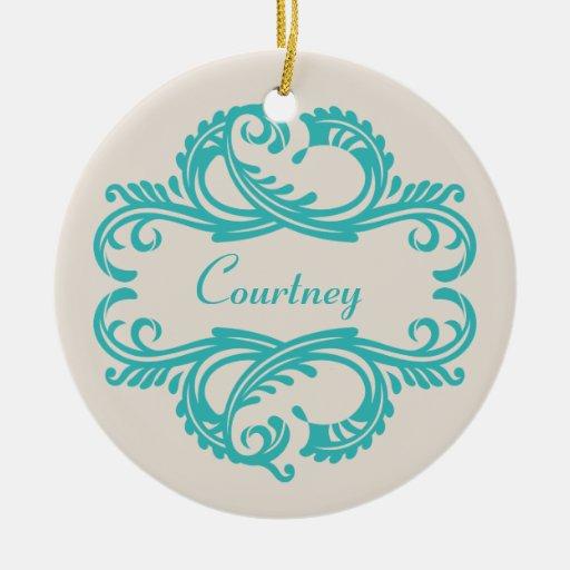 Ornamento elegante del damasco del trullo adorno navideño redondo de cerámica