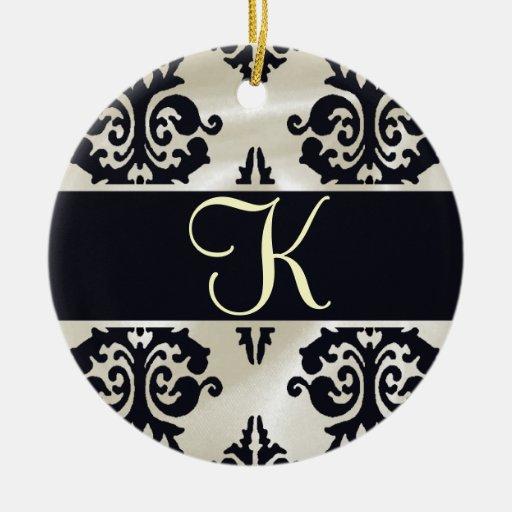 Ornamento elegante del monograma adorno redondo de cerámica