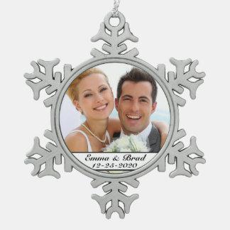 Ornamento elegante del navidad del boda o del adorno de peltre en forma de copo de nieve