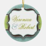 Ornamento elegante del recuerdo del boda ornamento de navidad