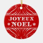 Ornamento elegante rojo del navidad de Joyeux Noel Ornamento De Navidad