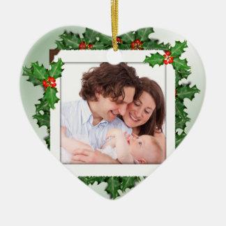 Ornamento en forma de corazón de la foto de adorno navideño de cerámica en forma de corazón