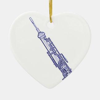 Ornamento en forma de corazón de la imagen de Oboe Adorno Navideño De Cerámica En Forma De Corazón