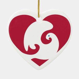 Ornamento en forma de corazón del corazón y de la adorno de cerámica en forma de corazón