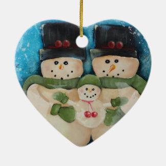Ornamento en forma de corazón del navidad de la adorno navideño de cerámica en forma de corazón