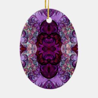 Ornamento enrollado de la variación 1 de la adorno navideño ovalado de cerámica