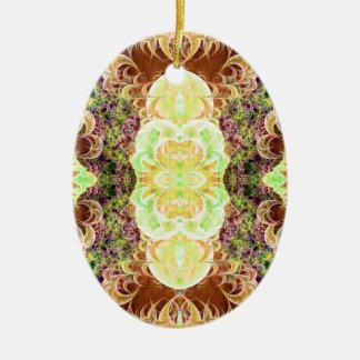 Ornamento enrollado de la variación 2 de la adorno navideño ovalado de cerámica